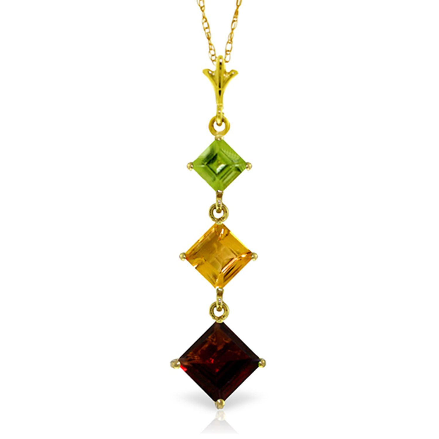 ALARRI 2.4 Carat 14K Solid White Gold Necklace Peridot Citrine Garnet with 24 Inch Chain Length