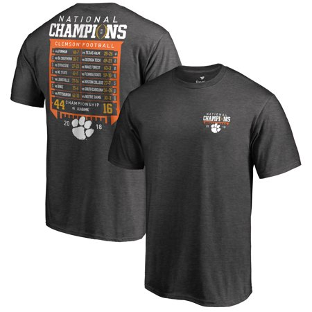 Clemson Tigers Fanatics Branded College Football Playoff 2018 National Champions Hard Count Schedule T-Shirt - Dark Heather Gray