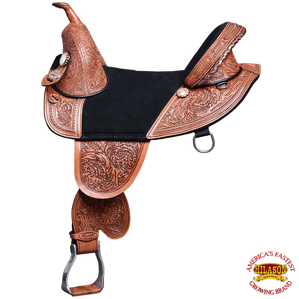 "13"" HILASON TREELESS WESTERN TRAIL BARREL RACING LEATHER HORSE SADDLE by"