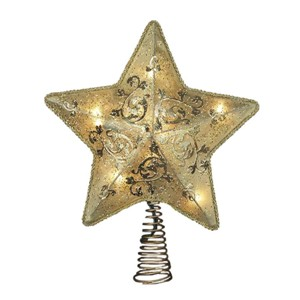 10/Lights Wired Frame And Gold Fabric Star Tree Topper