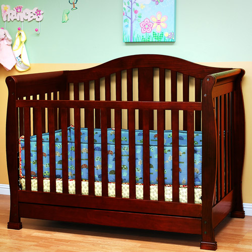 AFG Athena Spring 3-in-1 Fixed-Side Crib with Toddler Rail, Cherry