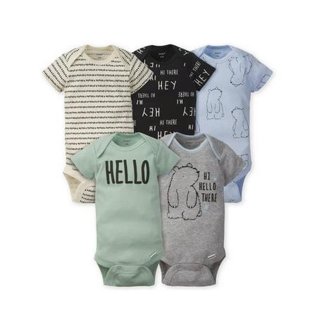 Gerber Baby Boy Assorted Short Sleeve Onesies Bodysuits, 5-Pack