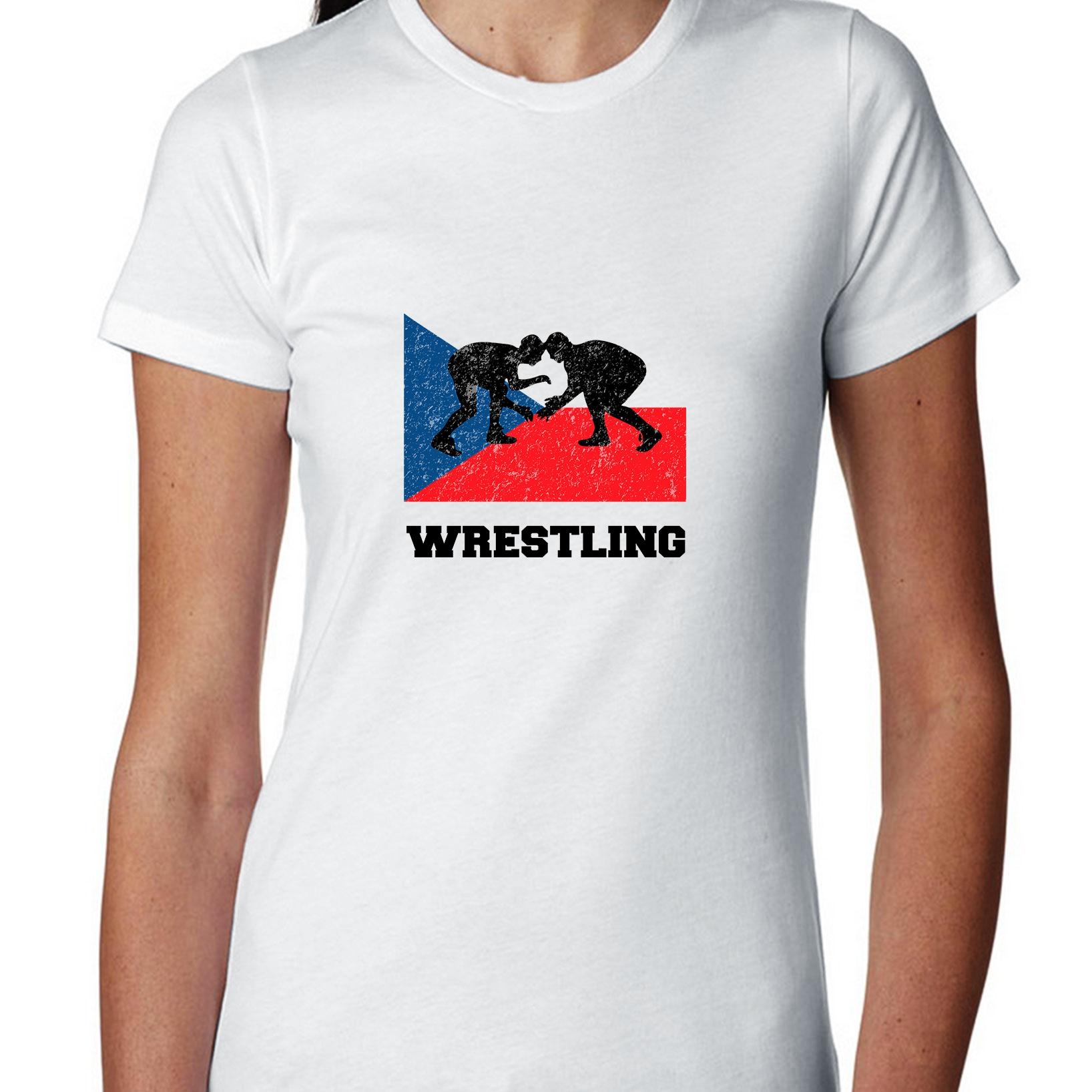 Czech Republic Olympic Wrestling Flag Silhouette Women's Cotton T-Shirt by Hollywood Thread