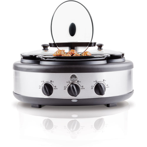 General Electric Round Triple 1.5-Quart Slow Cooker, Black/Stainless Steel