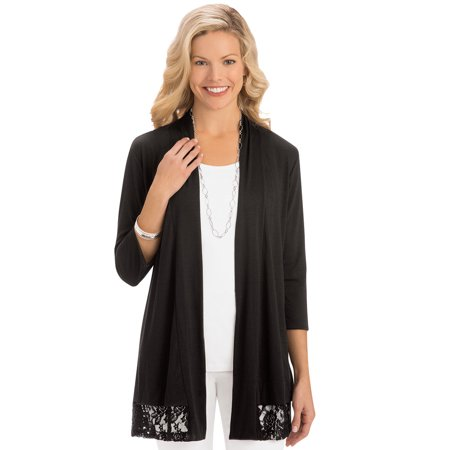Women's Lace Trim Open Front Knit Cardigan, Large, Black - Made in the USA