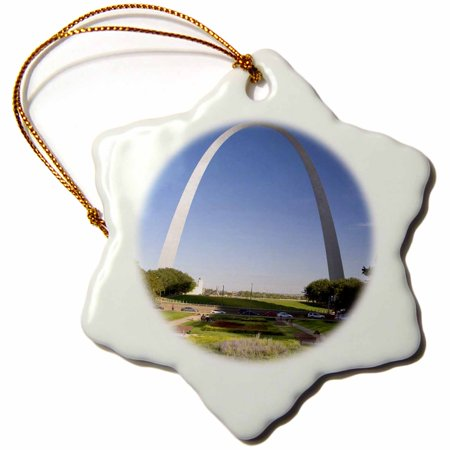 3dRose Gateway Arch, St Louis, Mississippi River, MO - US26 DFR0041 - David R. Frazier - Snowflake Ornament, 3-inch ()