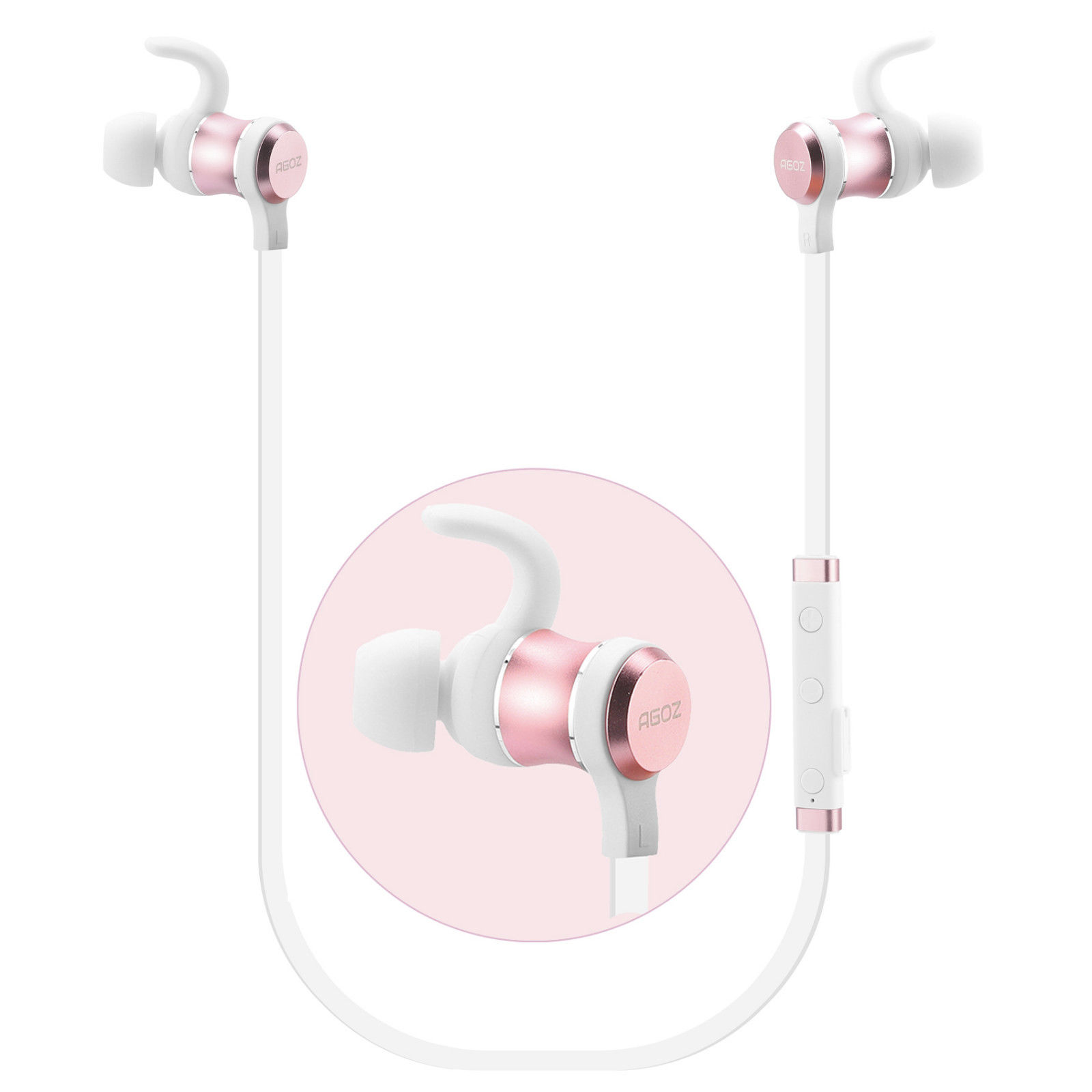Rose Gold Wireless Headphones Sport Earbuds Bluetooth Headset Noise Cancelling For Apple Iphone 11 11 Pro 11 Pro Max Se 2020 Xs Max Xs Xr X 8 Plus 8 7 Plus 7