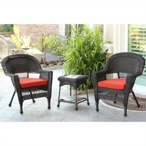 Jeco 3 Piece Wicker Conversation Set in Espresso with Red Cushions