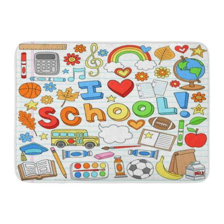 KDAGR I Love School Classroom Supplies Doodles on Lined Sketchbook Doormat Floor Rug Bath Mat 30x18 inch (Classroom Door)