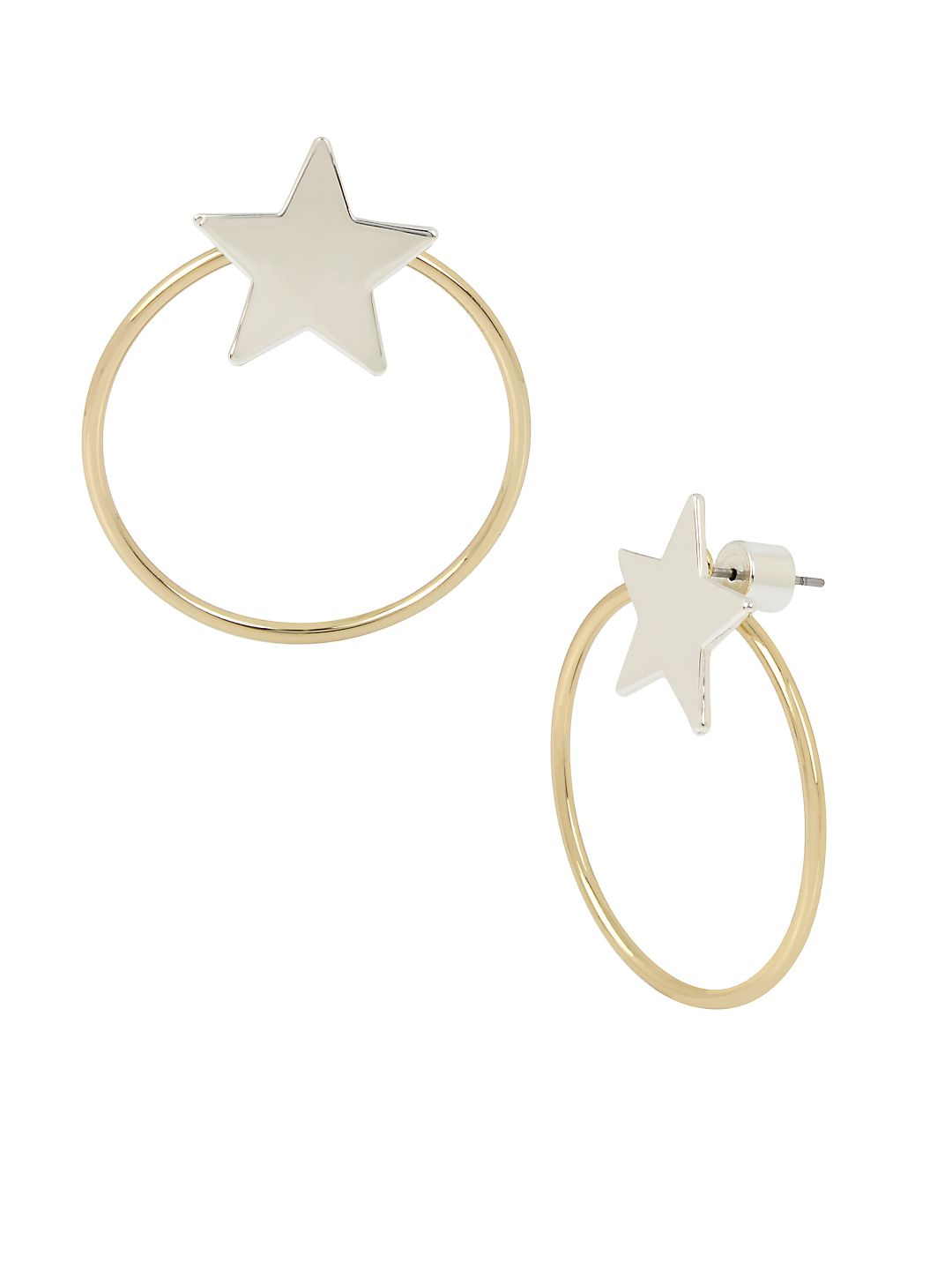 Starry Night Two-Tone Star & Circle Front Back Earrings