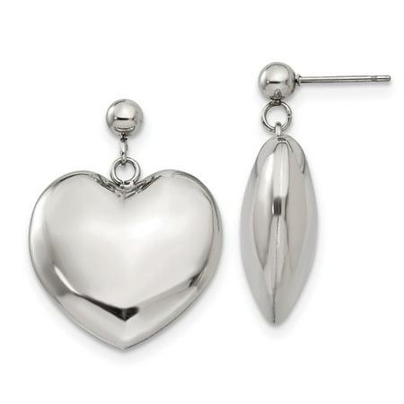 Stainless Steel Polished Puff Heart Post Dangle Earrings Dangling Heart Post Earrings