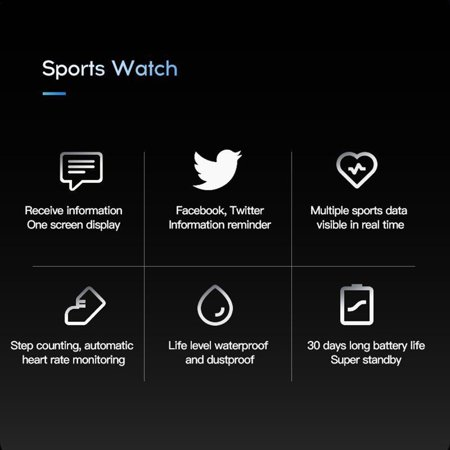 Fitness Tracker,Activity Health Tracker Waterproof Smart Watch Wristband with Blood Pressure Heart Rate Sleep Monitor Pedometer Step Calorie Counter for Android and iPhone - image 7 de 9