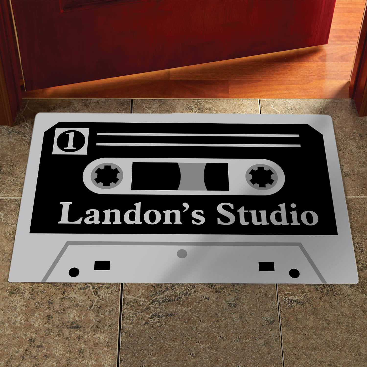 Personalized Cassette Doormat, Available in Different Sizes