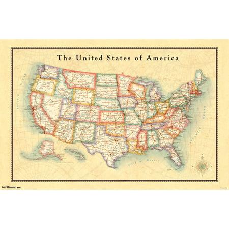 us map poster walmart Trends International Usa Map Wall Poster 22 375 X 34 Walmart