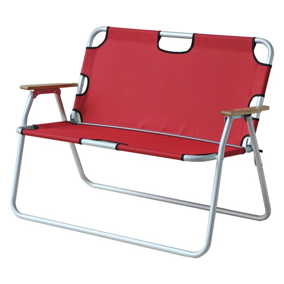 Outsunny 2 Person Folding Aluminum Love Seat Camping Chair - Walmart.com