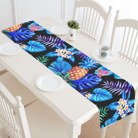 MYPOP Tropical Pineapple Table Runner Home Decor 14x72 Inch, Palm Tree Leaf Table Cloth Runner for Wedding Party Banquet Decoration - Palm Tree Table Decorations