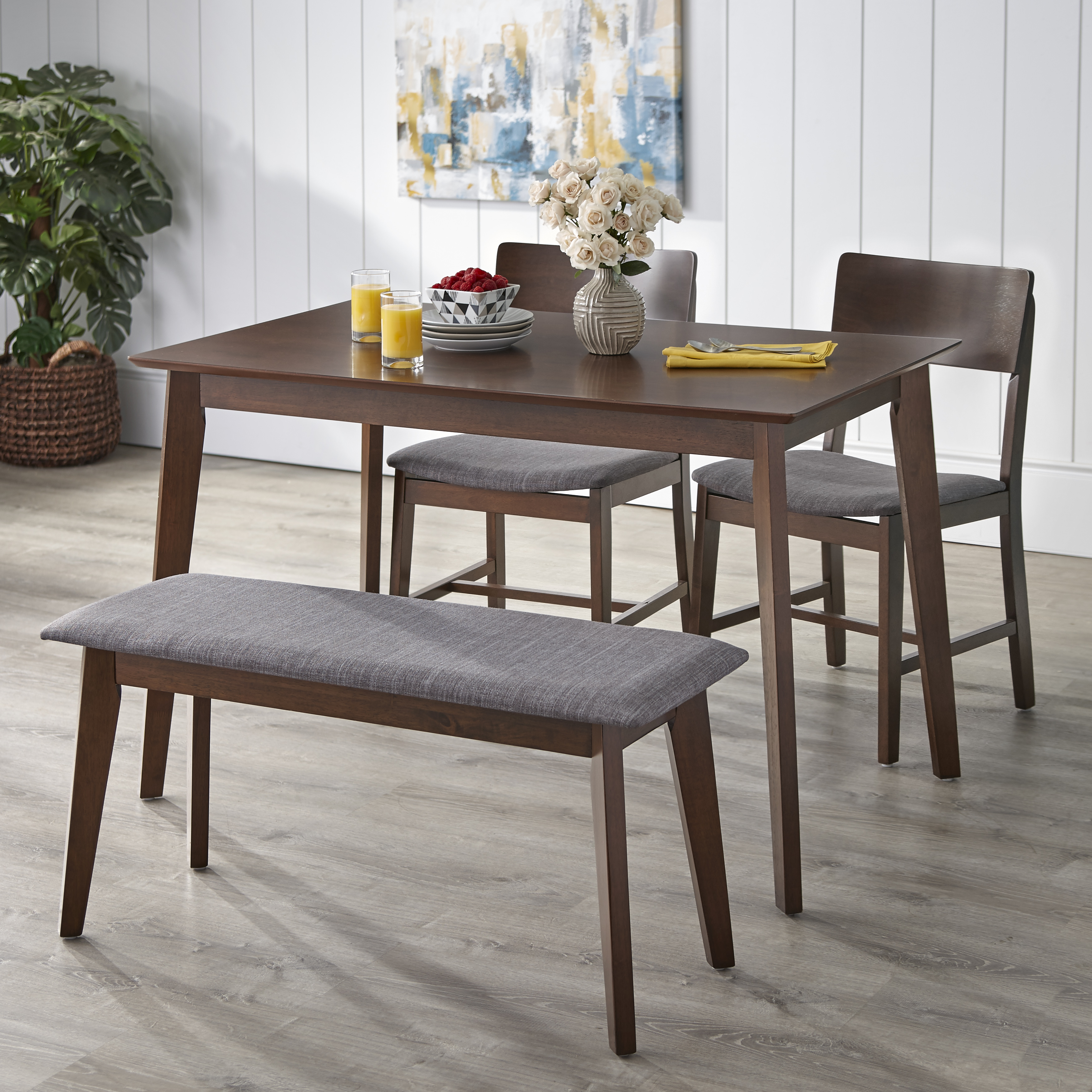 TMS Tiara 4 Piece Dining Set with Bench, Multiple Colors