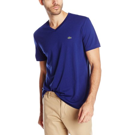 Lacoste Short Sleeve Jersey Pima Regular Fit V Neck T Shirt    Mens