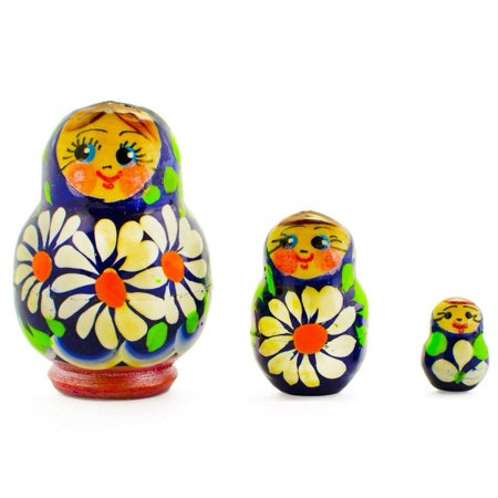 - Set of 3 Daisy Flowers Miniature Wooden Russian Nesting Dolls 2 Inches