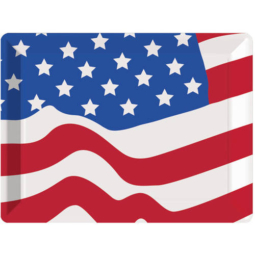 "Creative Converting Flag 10"" X 14"" Plastic Serving Tray"