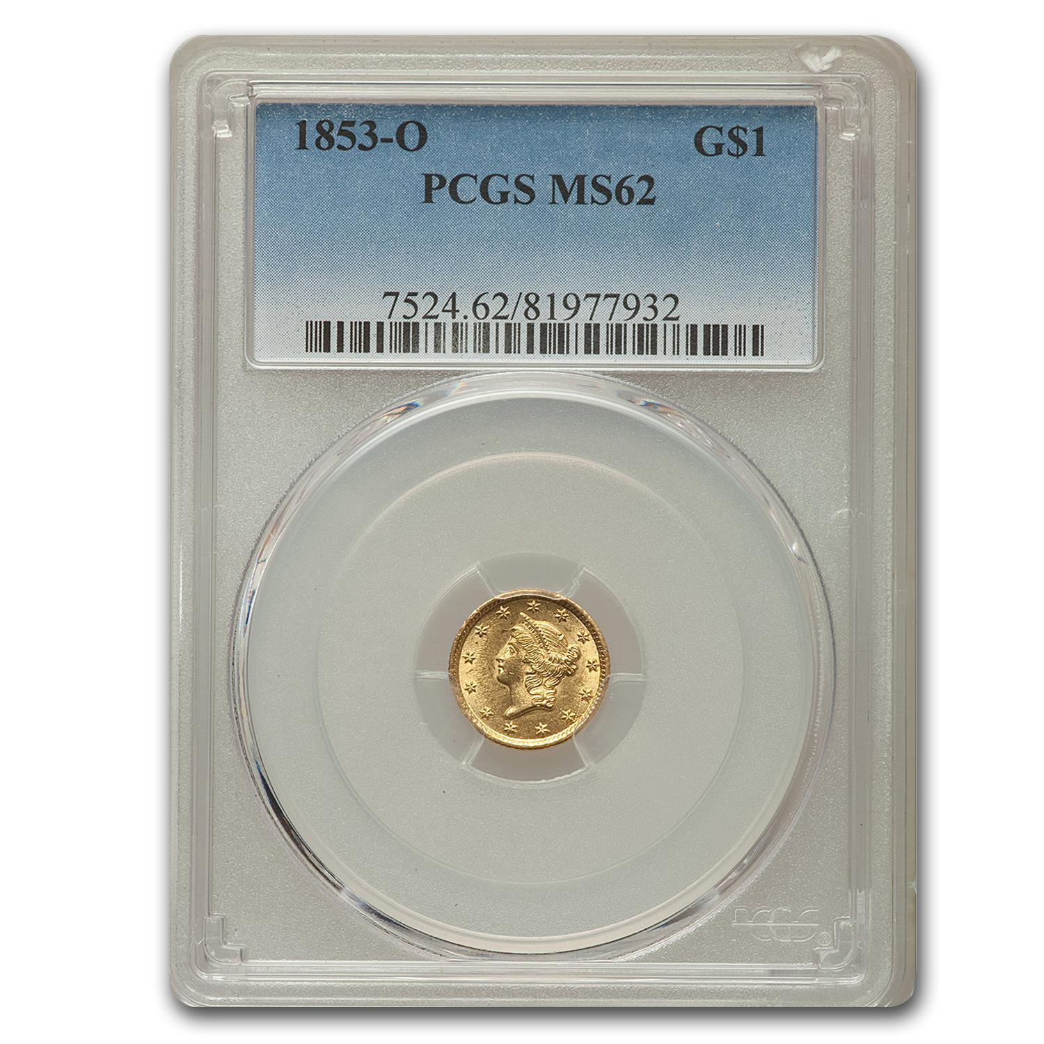1853-O $1 Liberty Head Gold MS-62 PCGS