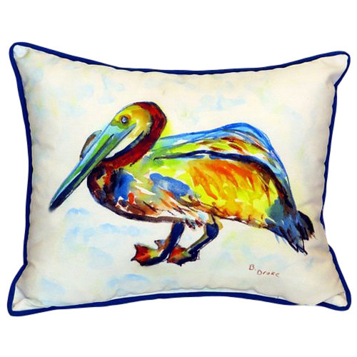 Betsy Drake Interiors Gertrude Pelican Indoor/Outdoor Lumbar Pillow