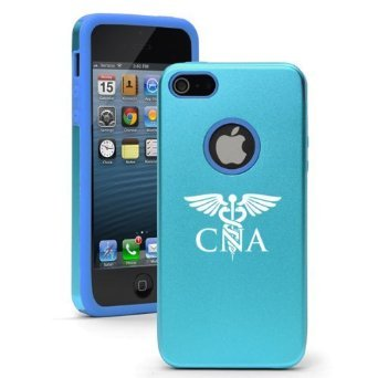 Apple iPhone 6 6s Shockproof AS Aluminum & Silicone Hard Soft Case Cover CNA Med Symbol Nursing Assistant (Light Blue),Daylor