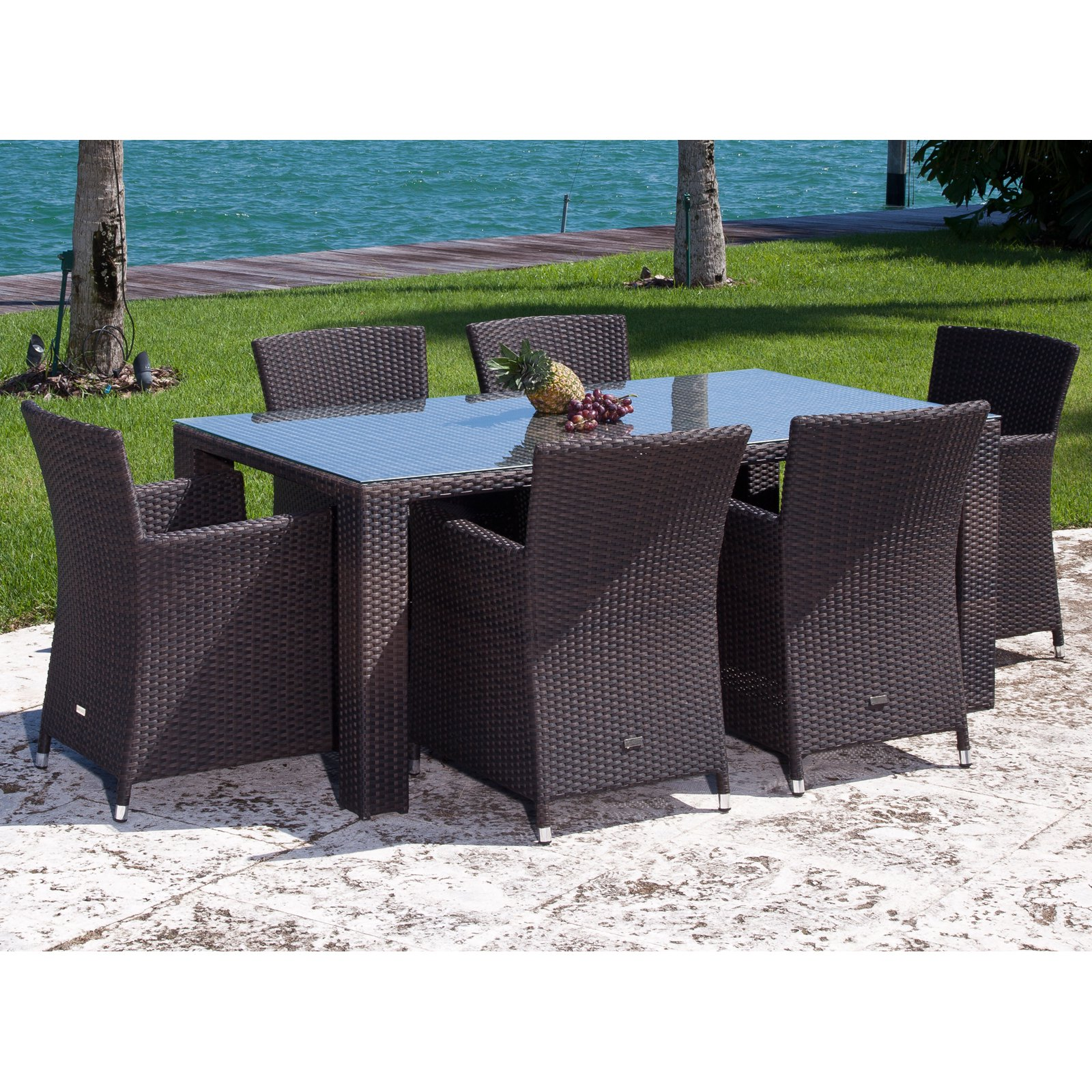 Source Outdoor St. Tropez All-Weather Wicker Patio Dining Set - Seats 6
