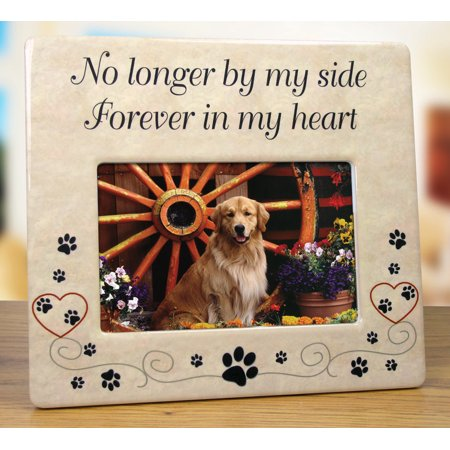 Pet Memorial Picture Frame - No Longer By My Side Forever in My (Forever Frame)
