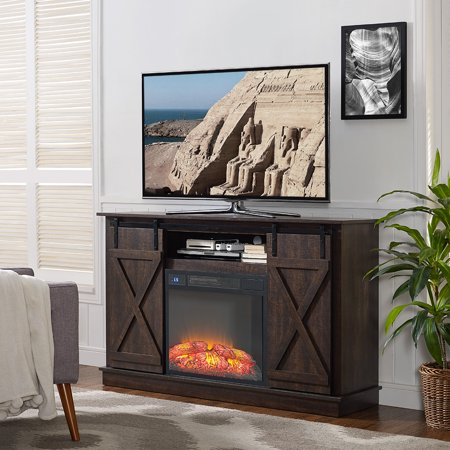 Awe Inspiring Home Source Murray Espresso Electric Fireplace Tv Stand With Barnyard Cabinet Doors Interior Design Ideas Gentotthenellocom