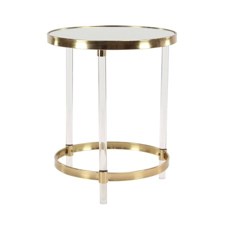 Decmode Modern Round Iron And Acrylic Accent Table Gold Walmartcom