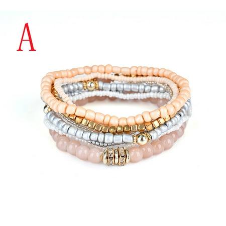 Mosunx Fashion 1 Set Stretch Acrylic Beaded Bohemian Lady Bracelet Bangle A