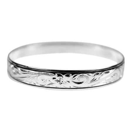 Sterling Silver 10mm Hawaiian Plumeria Engraved Double Line Bangle Bracelet 7 Inches
