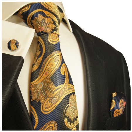 Navy and Gold Paisley Paul Malone Silk Tie with
