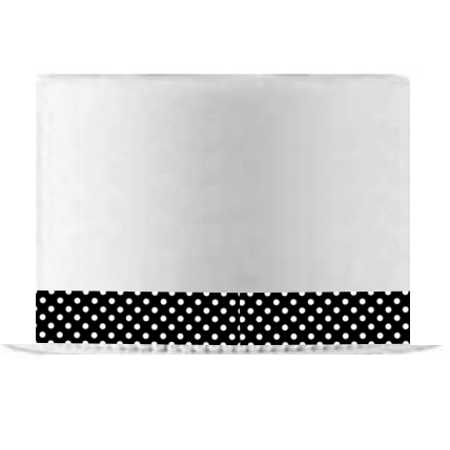 Black and White Polka Dot Edible Cake Decoration Ribbon -6 Slim Strips - Polka Dot Cake