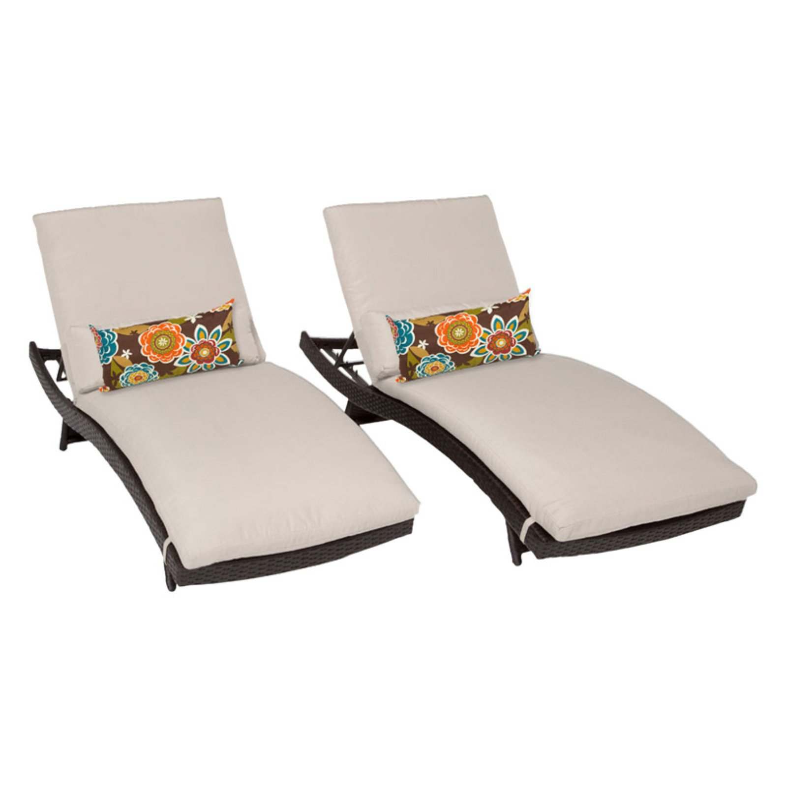 TK Classics Bali Adjustable Outdoor Chaise Lounge - Set of 2 Chairs and Cushion Covers