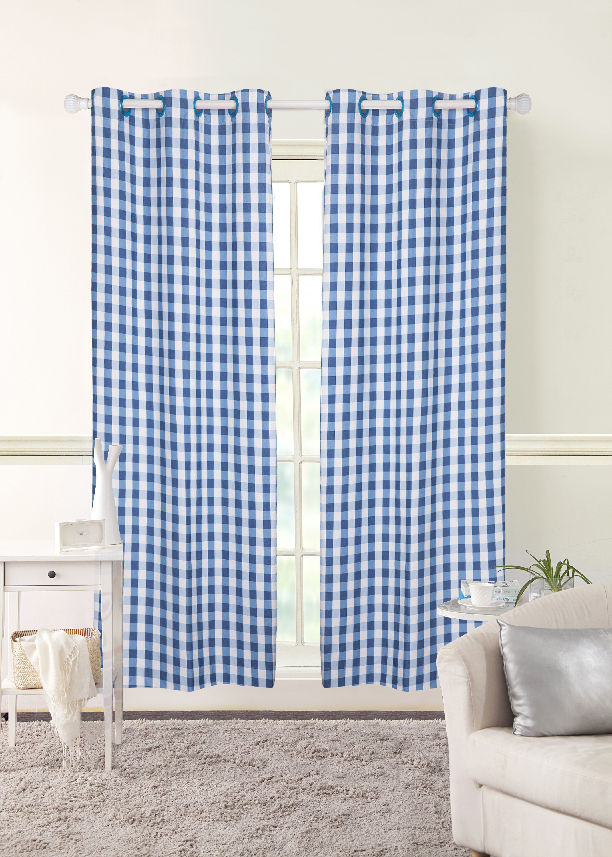 Awesome Mainstays Grommet Room Darkening Gingham Single Curtain Panel. Product  Variants Selector. Blue