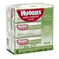 HUGGIES Natural Care Baby Wipes, Sensitive, 3 packs of 56, 168 Ct