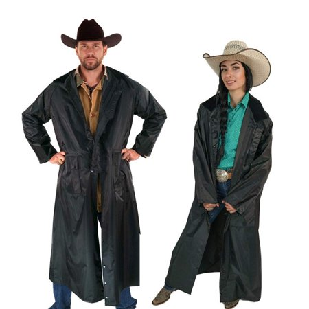 Southwestern Equine American Cowboy Saddle Slicker Rain Coat Duster – 100% Waterproof Full Length Unisex (Black, XX-Large) ()