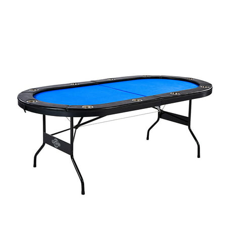Lancaster 10 Player High Quality Blue Felt Casino Style Folding Poker Game Table - Casino Style