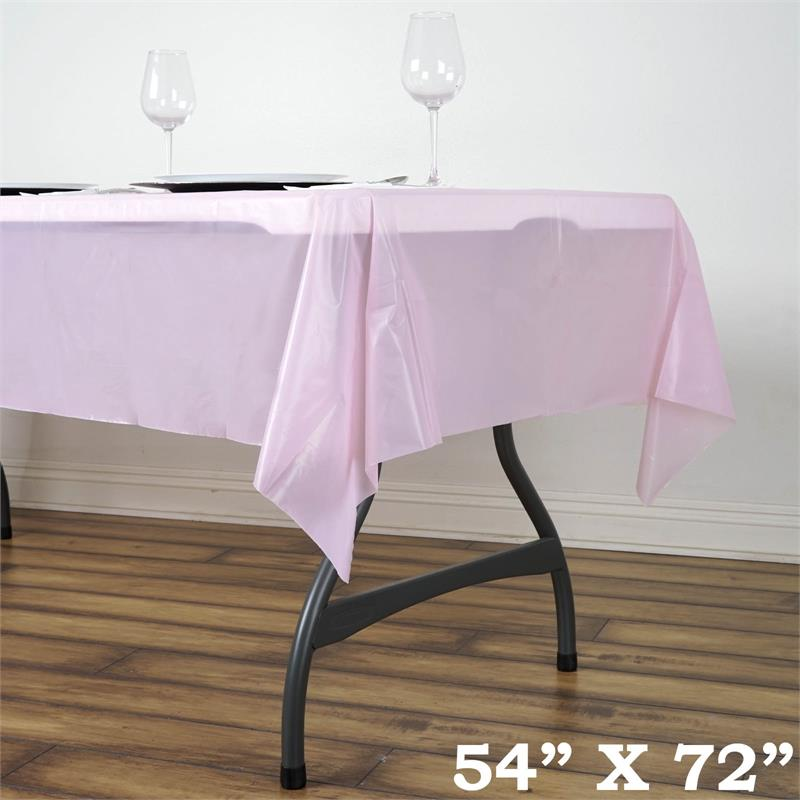 """BalsaCircle 54"""" x 72"""" Rectangular Disposable Plastic Tablecloth Table Cover - Party Picnic Table Covers Decorations"""