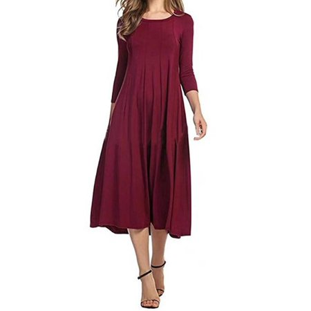 JustVH Women's Round Neck 3/4 Sleeve A-line Swing Flare Midi Dress