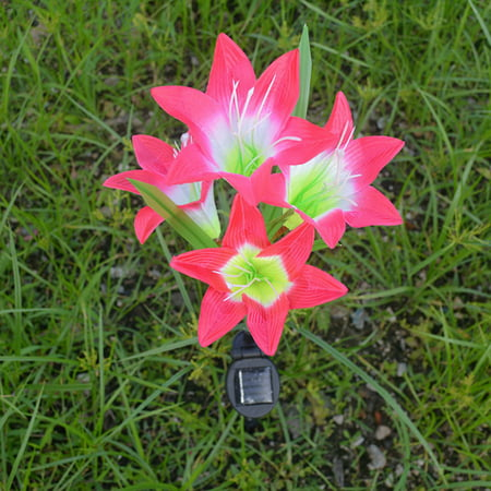 Solar Powered LED Lily Flower Light Color Changing Energy Saving Waterproof 4 Pcs of Garden Outdoor Decorative Light Lawn Lamp