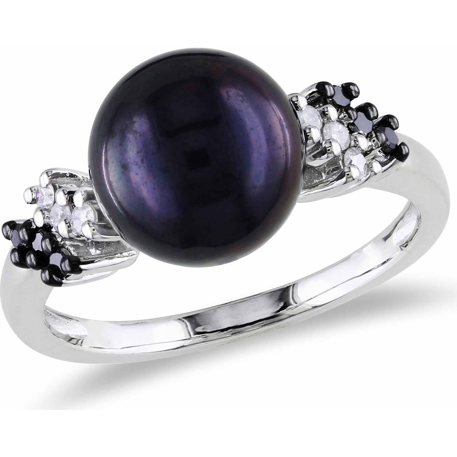 9mm-9.5mm Black Round Cultured Freshwater Pearl and 1/8 Carat T.W. Black and White Diamond Sterling Silver Cocktail Ring