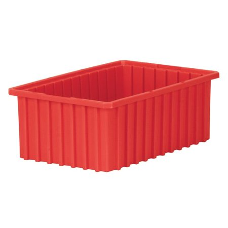 akro-mils 33166 akro-grid slotted divider plastic tote box, 16-1/2-inch length by 10-7/8-inch width by 6-inch height, case of 8, red ()