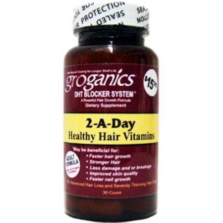 Groganics 2-A-Day Healthy Hair Vitamins Dietary Supplement, 30 ea (Pack of