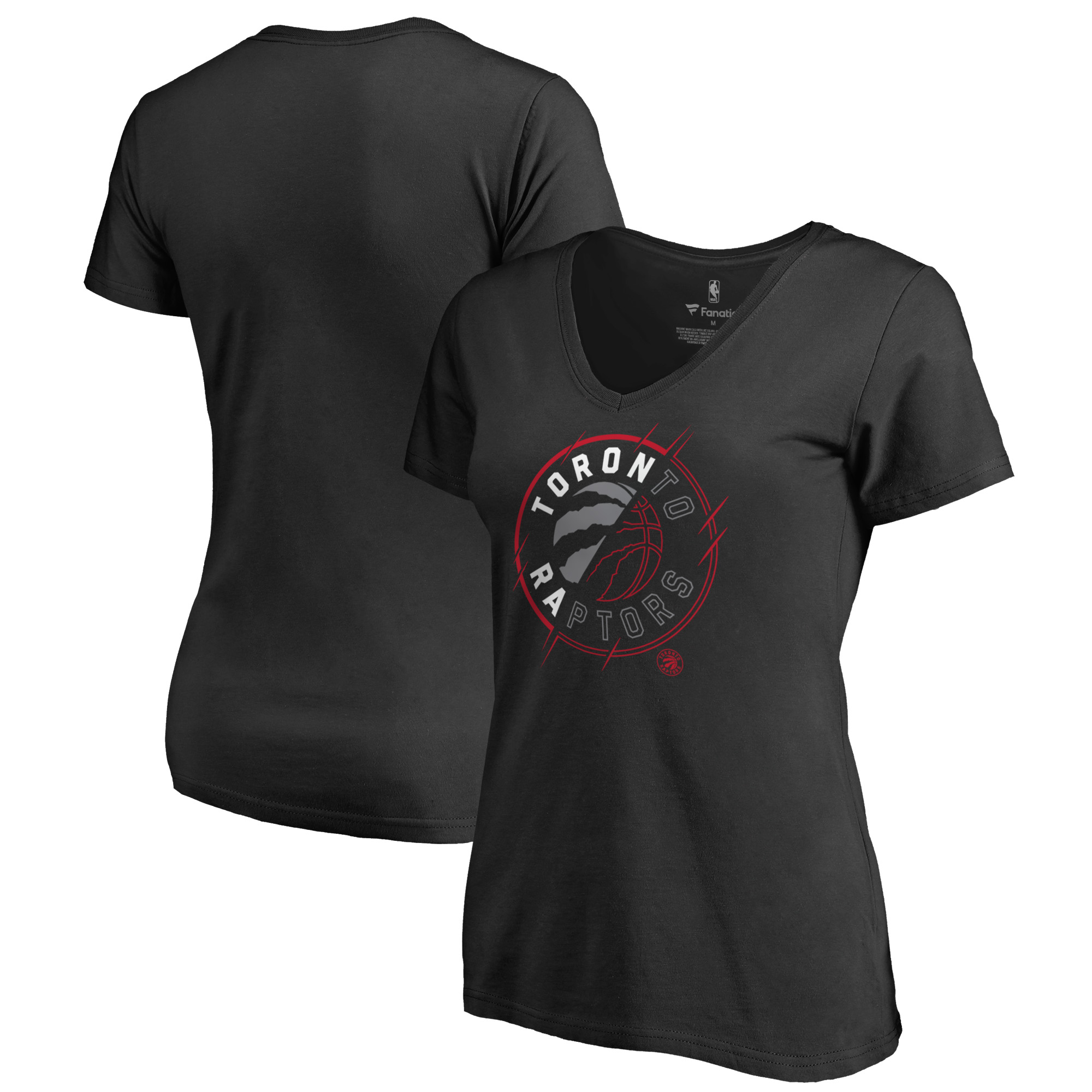 Toronto Raptors Fanatics Branded Women's X-Ray Slim Fit V-Neck T-Shirt - Black