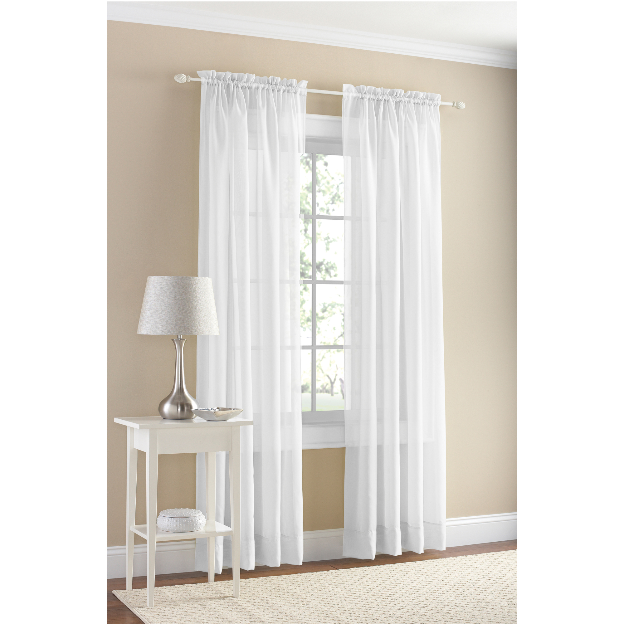 Mainstays Marjorie Solid Voile Curtain Panel Pair, Set of 2