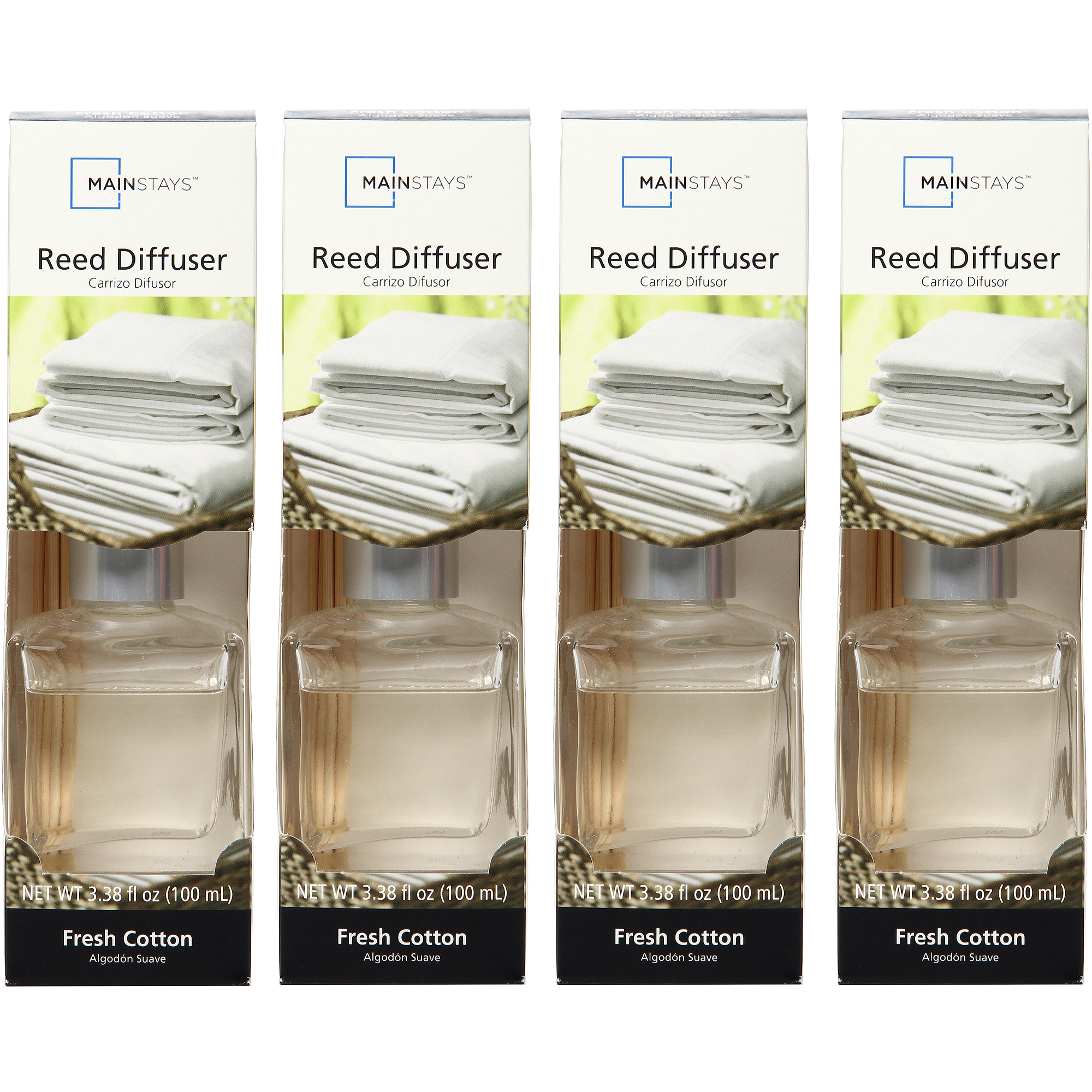 Mainstays Color Diffusers, Fresh Cotton, Set of 4