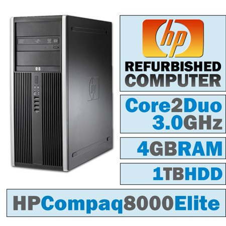 REFURBISHED HP Compaq 8000 Elite CMT/Core 2 Duo E7600 @ 3.07 GHz/4GB DDR3/1TB HDD/DVD-RW/WINDOWS 7 PRO 64